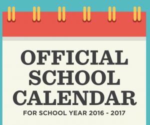 School calendar 2016 – 2017;