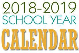 School Calendar 2018-2019;